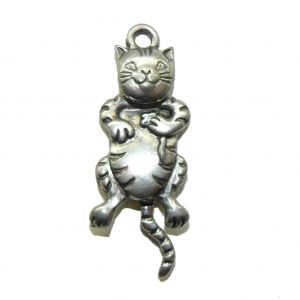 Cat With Swivel Head - Pewter Charm