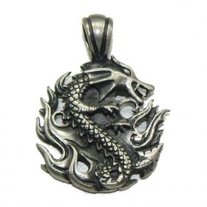 Fire Dragon Fine Pewter Pendant