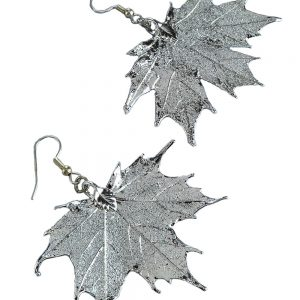 Silver Sugar Maple Leaf Earrings
