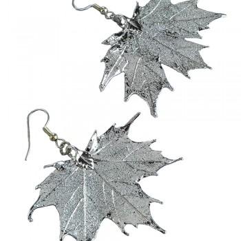 Silver Sugar Maple Leaf Earrings