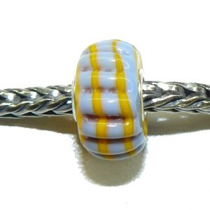 Trollbead Ooak Bumpy grey with yellow Stripes