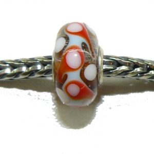 Trollbead Ooak Red Zig Dots
