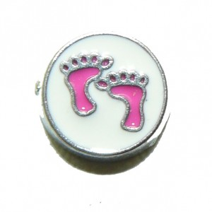 Floating Locket Charm Baby Feet