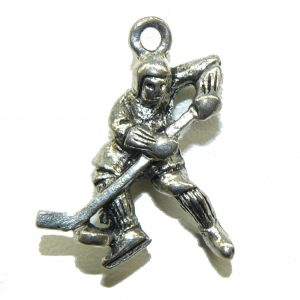 Hockey Player Pewter Charm
