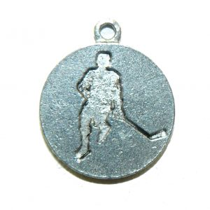 Hockey Player Round Pewter Charm