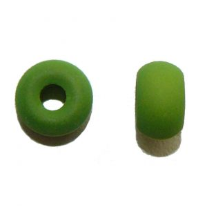 Lizard Green Glass Donut Bead