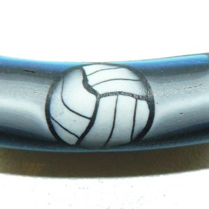 Volleyball Blue to Grey Fimo Bead