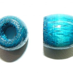 Blue Wood Barrel Large Hole Bead