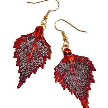 Copper Birch Leaf Earrings