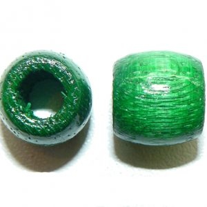 Green Wood Barrel Large Hole Bead