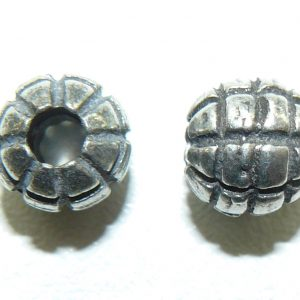 Grid round pewter Bead