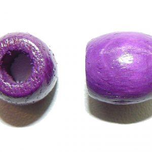 Purple Wood Barrel Large Hole Bead