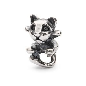 Curious Kitten Bead, Silver