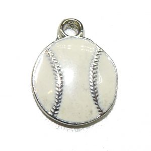 Flat Baseball Epoxy Pewter Charm