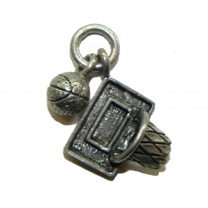 Basketball and Net - Pewter Charm