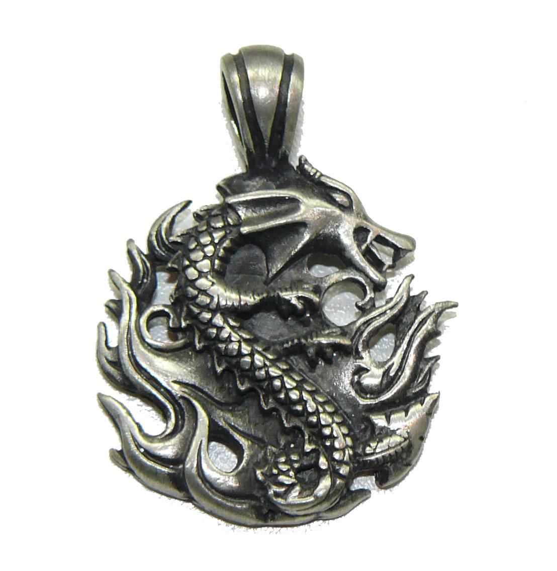 Fire Dragon Fine Pewter Pendant