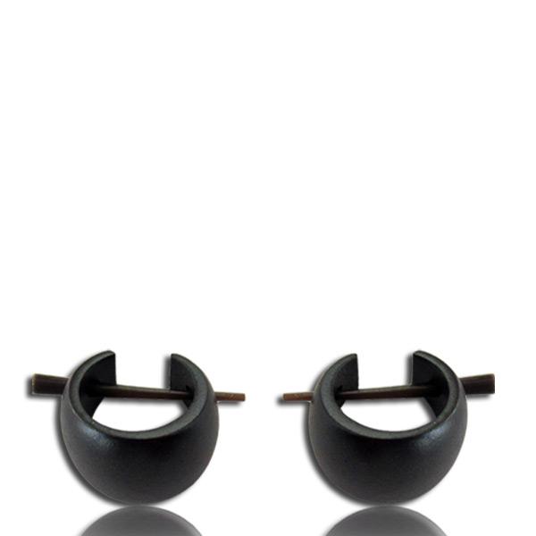 Basic Curved Pin Earrings in Black Narra Wood