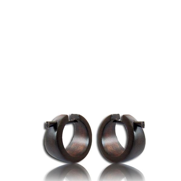Basic Squares Pin Earrings In Black Narra Wood