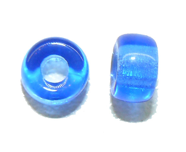 Electric Blue Glass Crow Bead 6mm