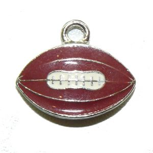 Flat Football Epoxy Pewter Charm