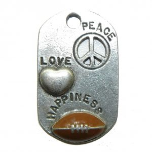 Football Peace Love Happiness Pewter Charm
