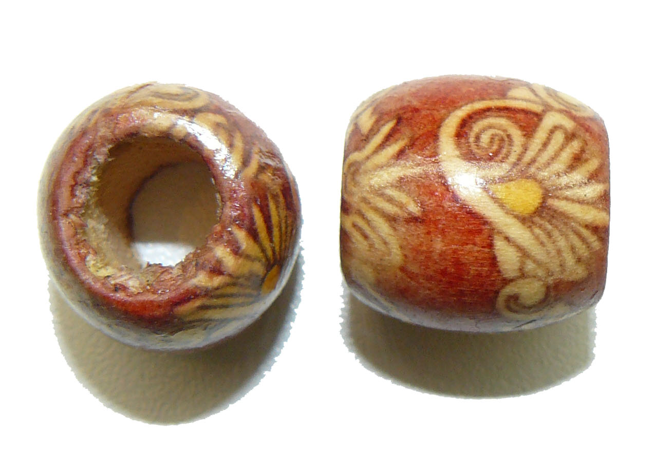 Red Flower Bamboo bead