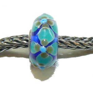 Trollbeads – Ooak Bead – Blue Flower Power