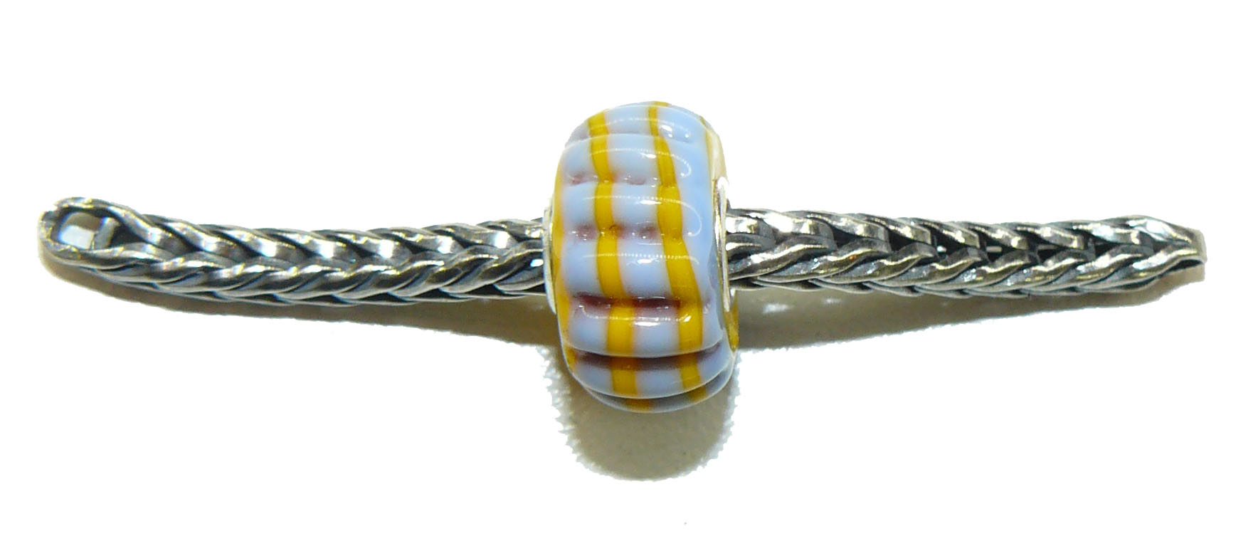 Trollbead Ooak Bumpy grey with yellow Stripes