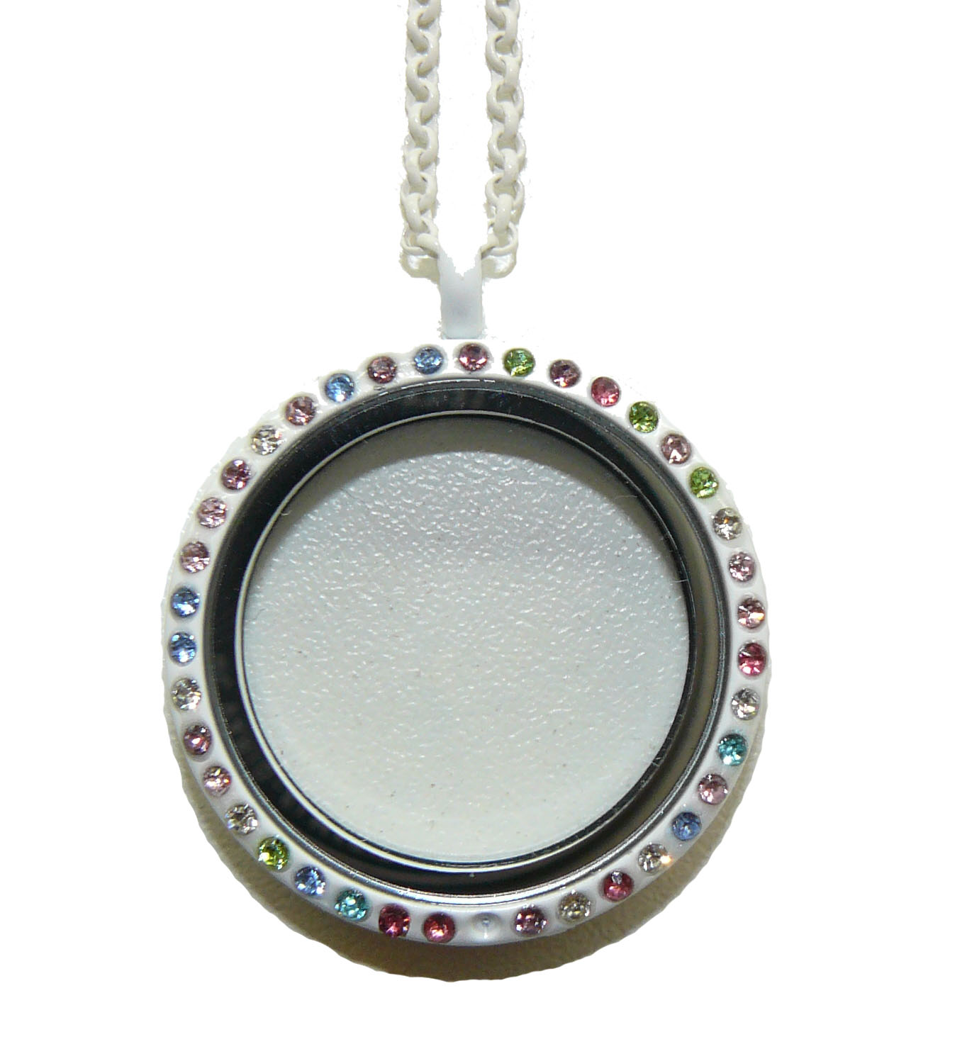 Floating Charm Locket White with Crystals