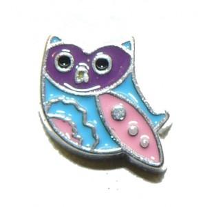 Floating Locket Charm Owl