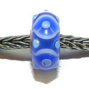 Trollbeads – Ooak Bead – Blue circle dots