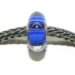 Trollbeads – Ooak Bead – Deep Blue Stripes