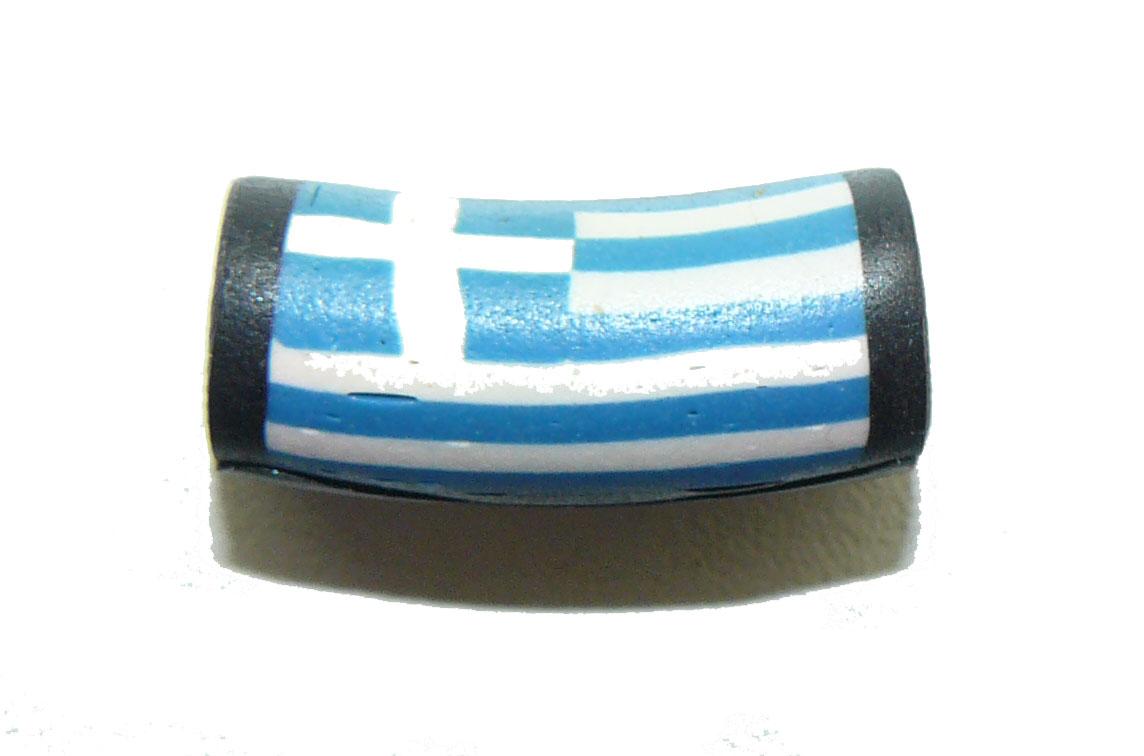 Fimo Bead Greek Flag