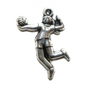 Girl Volleyball Player Serve Metal Charm