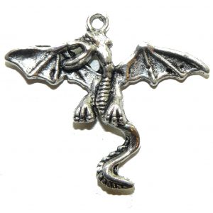 Large Winged Dragon Metal Charm