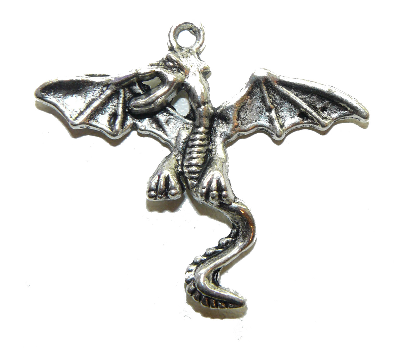 Large Winged Dragon Metal Charm