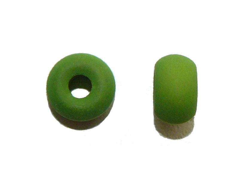 Lizard Green Glass Donut Bead