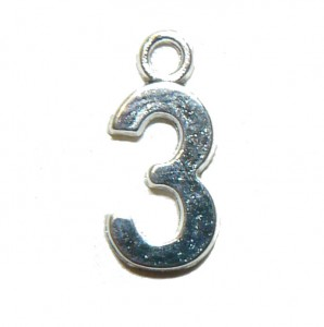 Three 3 Silver Number Charm