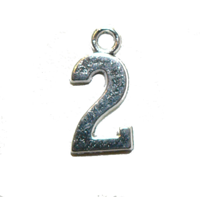 Two 2 Silver Number Charm