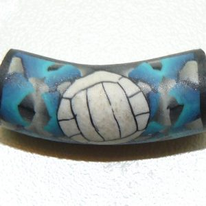 Volleyball Blue Shattered Fimo Bead