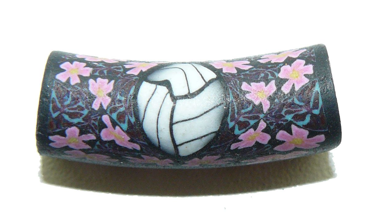 Volleyball Pink Flowers Fimo Bead