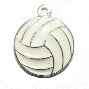 White Enamel Volleyball Charm
