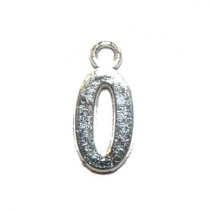 Zero 0 Silver Number Charm