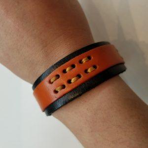 Threaded Leather Bracelet – Black and Orange