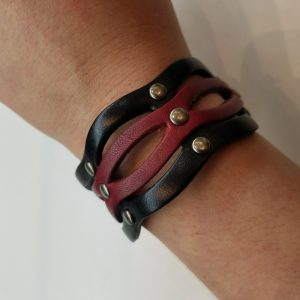 Unique, Curvy Leather Bracelet – Red, Black, and Silver