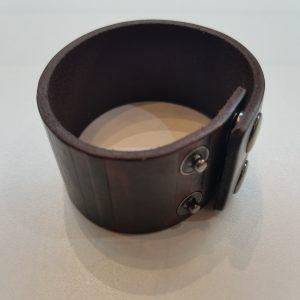 Textured Stripes Leather Bracelet – Dark Brown