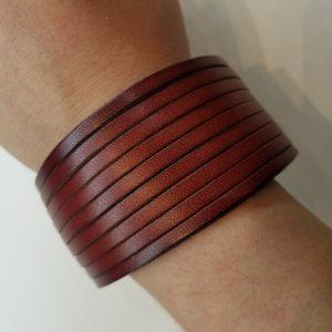 Shredder Leather Bracelet – Red