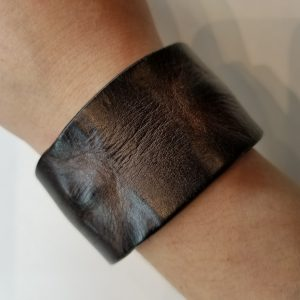 """""""Weathered"""" Leather Bracelet with Snap Clasp – Black"""
