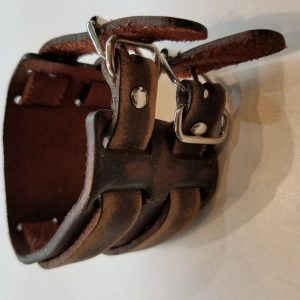 Two strapped 'Washed' Leather Bracelet – Medium Brown