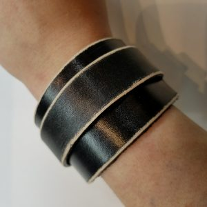 Leather Bracelet/Watch band – Black with White Stripes
